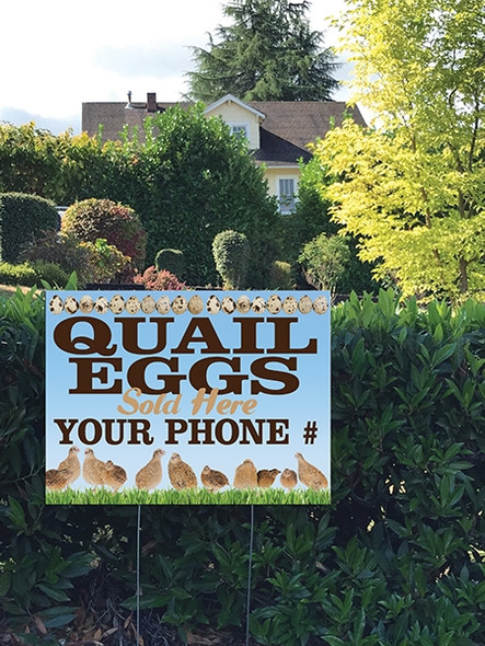 24 x 18 Yard Sign - Quail Eggs, Flock of Quail
