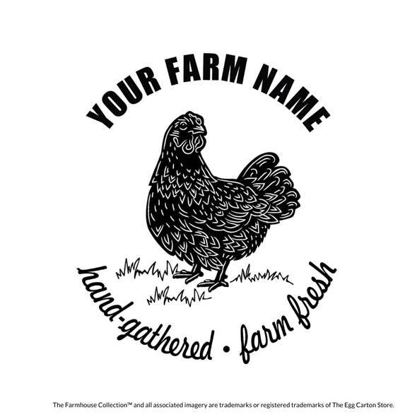 Custom Stamp - farmhouse style, rustic inspired chicken stamp with customizable farm name