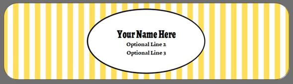 Full Top Custom Carton Label - Yellow Stripes