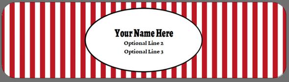 Full Top Custom Carton Label - Red Stripes