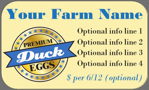 Custom Carton Label 2 x 4 -  Quail Duck Eggs