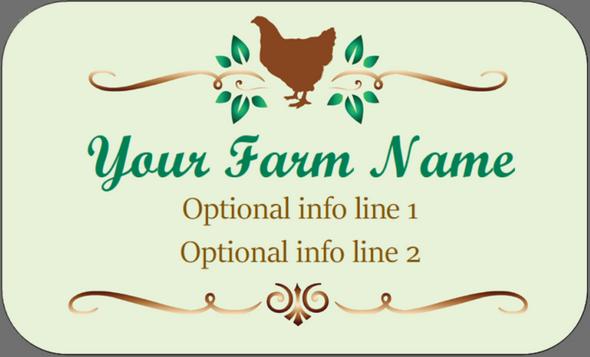 Custom Carton Label 2 x 4 -  Green with Brown Chicken
