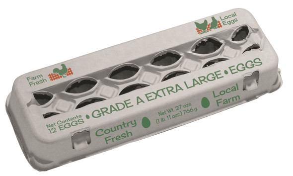 """""""Grade A Extra Large"""", 12 Egg, Molded Fiber View Style Egg Carton top view"""