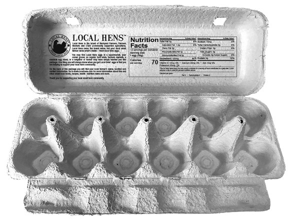 open view of blue Local Hens® Grade A Large Printed Paper-Pulp Carton with UPC