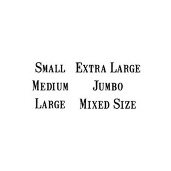 Black text example of Vintage Font Egg Size stamps Small Medium Large Extra Large Jumbo