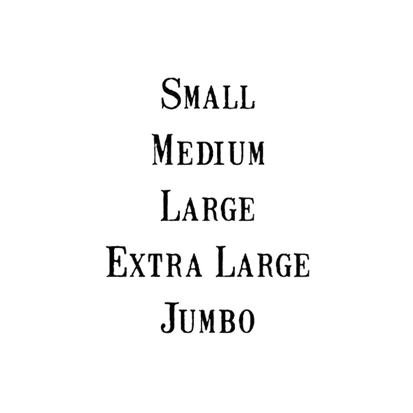 Black text listed example of vintage font egg size stamps Small  Medium Large Extra Large Jumbo
