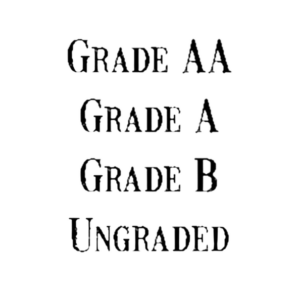 Black text list of vintage font egg grades stamp examples  Grade AA Grade A Grade B Ungraded