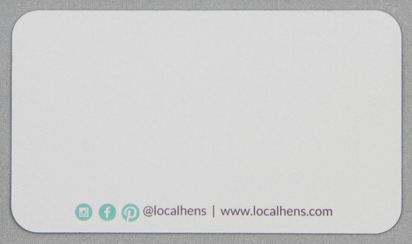 Blank back of the Local hens business card