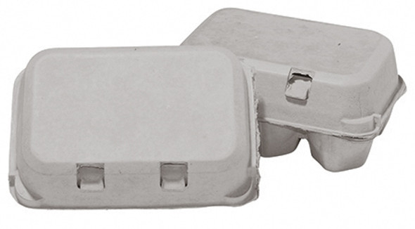 Top and side view of two closed blank brown split 6-Egg paper-pulp cartons.