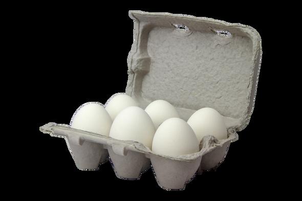 Six white ceramic nest eggs in brown paper pulp carton