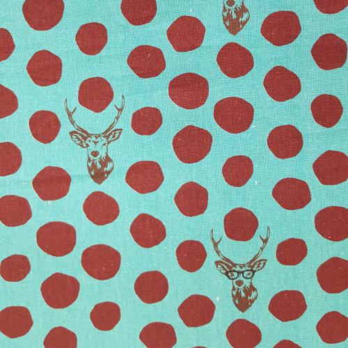 Stag on Turquoise Canvas -  Kokka Fabric