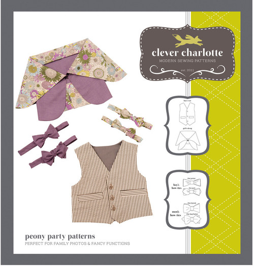 Peony Party Patterns (2 - 8 years) Shrugs, bowties, waistcoat - Clever Charlotte