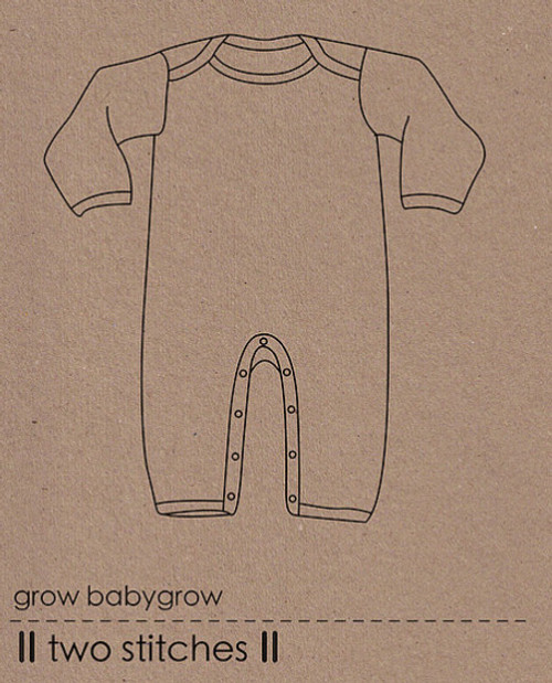 Babygrow sewing Pattern, Two stitches, available from Purple Stitches UK.  Jersey Sewing Patterns for Children.