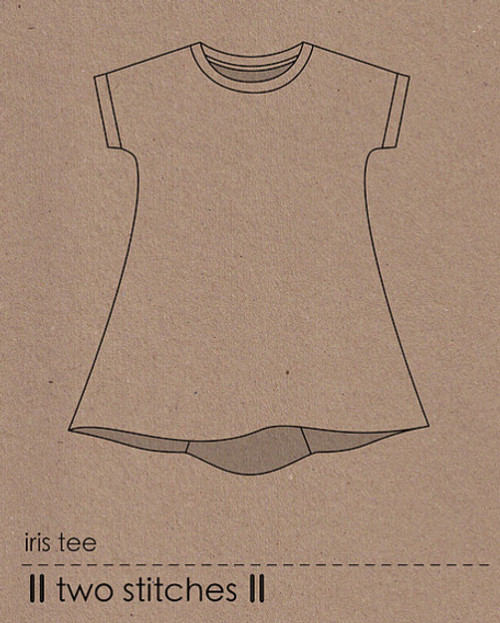 Iris Tee sewing Pattern, Two stitches, available from Purple Stitches UK. Dressmaking Patterns for Children's clothes with Jersey Knits