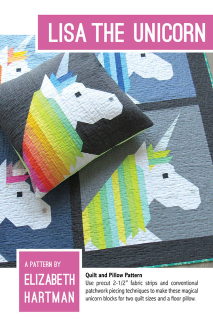 Lisa the Unicorn printed quilt pattern by Elizabeth Hartman. Available at Purple Stitches in UK