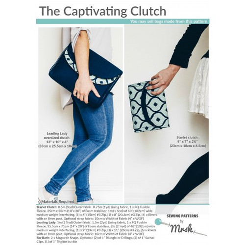 Printed Captivating Clutch Pattern by Mrs H Sewing Pattern. Available at Purple Stitches, Hampshire UK