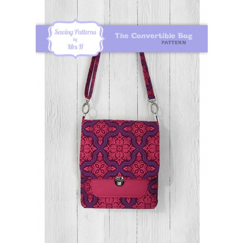Printed Convertible Bag Pattern by Mrs H Sewing Pattern. Available at Purple Stitches, Hampshire UK