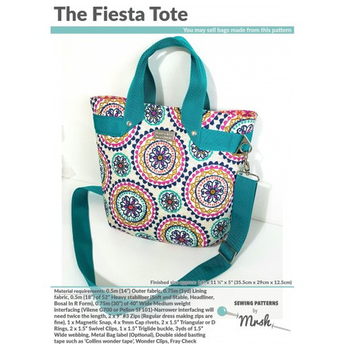 Printed Fiesta Tote Pattern by Mrs H Sewing Pattern. Available at Purple Stitches, Hampshire UK