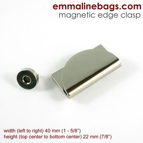 Emmaline Bags hardware - half moon magnetic edge clasp, available from Purple Stitches, Hampshire, UK