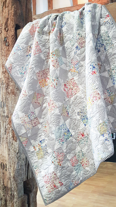 """Midsummer Dreams Quilt kit, as feature in British Patchwork and Quilting.  Finish size 48"""" x 64"""", from Purple Stitches, Hampshire, UK"""