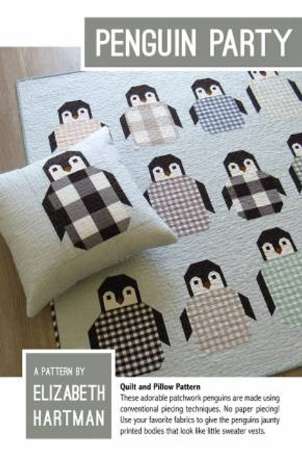 Penguin Party  paper quilt pattern by Elizabeth Hartman. Available at Purple Stitches in UK
