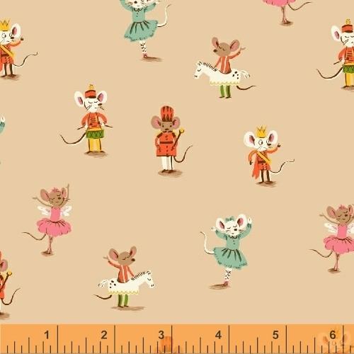 Dancing Mouse Nutcracker in peach by heather ross Sugar Plum, available from Purple Stitches, UK