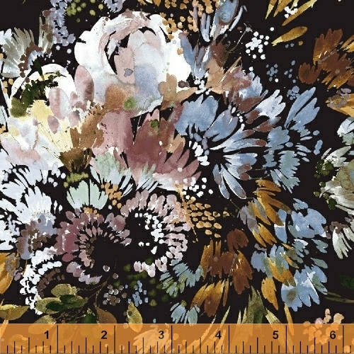 Full Bloom on Navy, cotton lawn by Kelly Ventura, Botany, available from Purple Stitches, UK