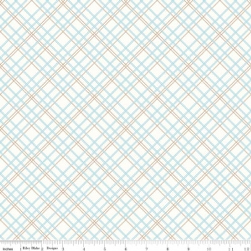 """Riley Blake Designs """"Bee Backings & Borders"""" By Lori Holt of Bee in My Bonnet. 100% cotton, pattern WB6422-Aqua Plaid. Widebacks are Extra wide Fabric and measures 107""""/108"""" wide"""