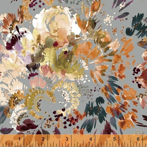 Full Bloom on Grey, cotton lawn by Kelly Ventura, Botany, available from Purple Stitches, UK