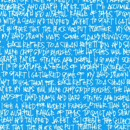 "Letters in Paris Blue - Architextures Wide (108"" wide) - Carolyn Friedlander - Robert Kaufman"