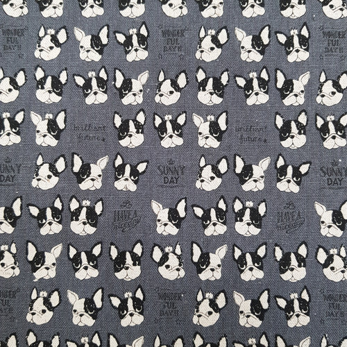 Dogs on Grey, Japanese Canvas, Available from Purple Stitches, UK