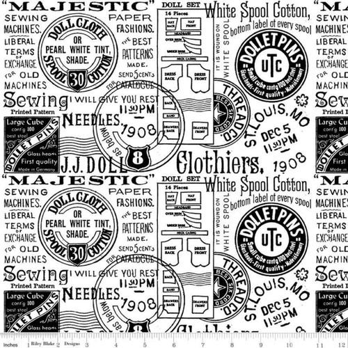"Paper Doll Text White - J Wecker Frisch  - Riley Blake Basics - 108"" Quilt Wide Back - Riley Blake Fabrics"