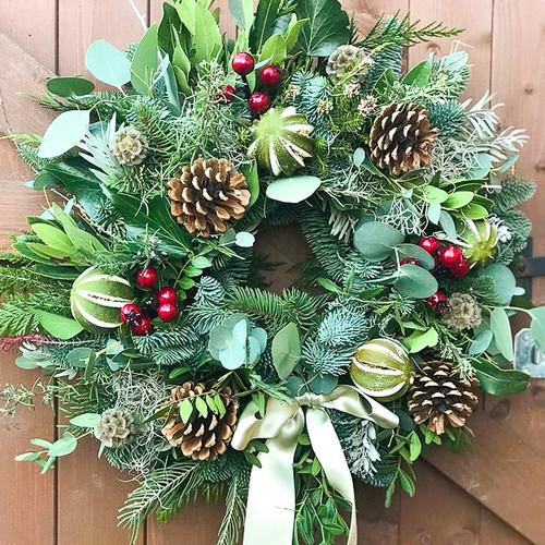 Fresh Christmas Wreath Workshop with Bramble Cottage Flowers at Purple Stitches, North Hampshire, UK