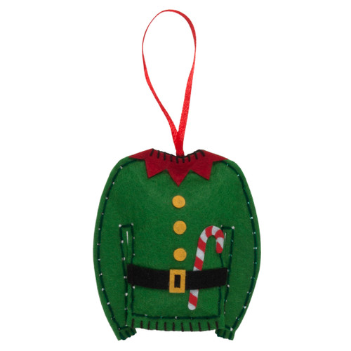 Elf Jumper - Felt Decoration Kit (GCK025) - available from Purple Stitches, Hampshire UK
