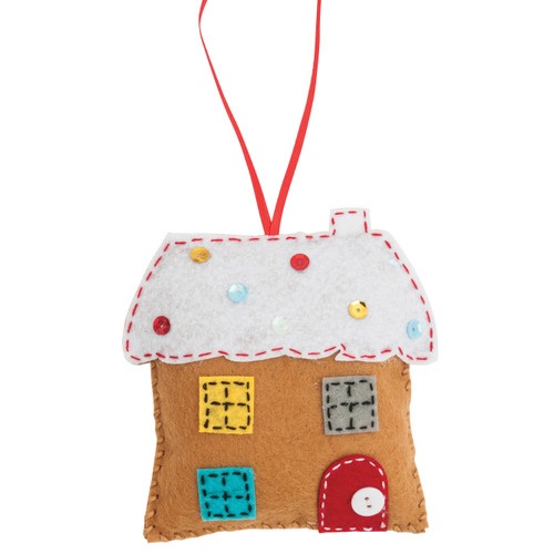 Gingerbread House - Felt Decoration Kit - available from Purple Stitches, Hampshire UK