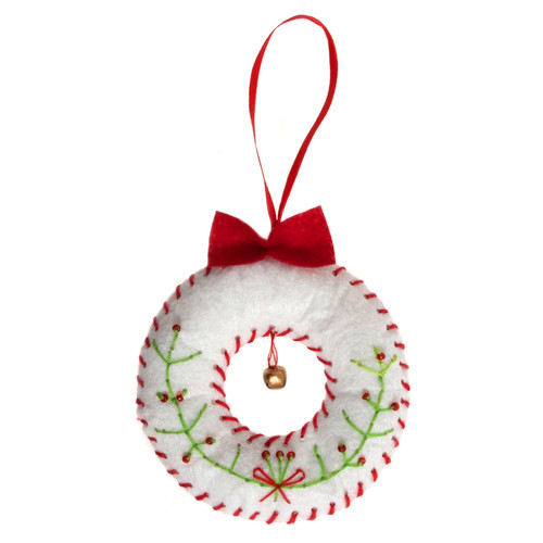 Wreath - Felt Decoration Kit - available from Purple Stitches, Hampshire UK