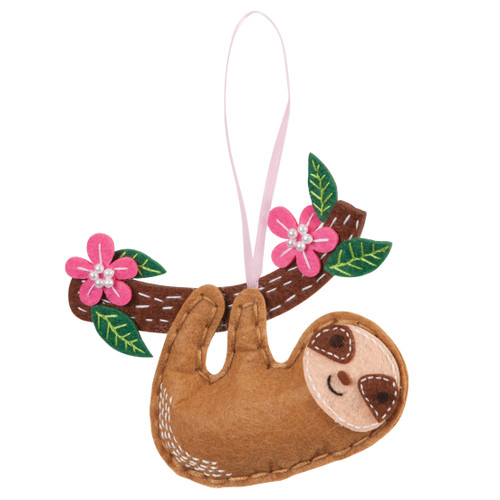 Sloth - Felt Decoration Kit - available from Purple Stitches, Hampshire UK