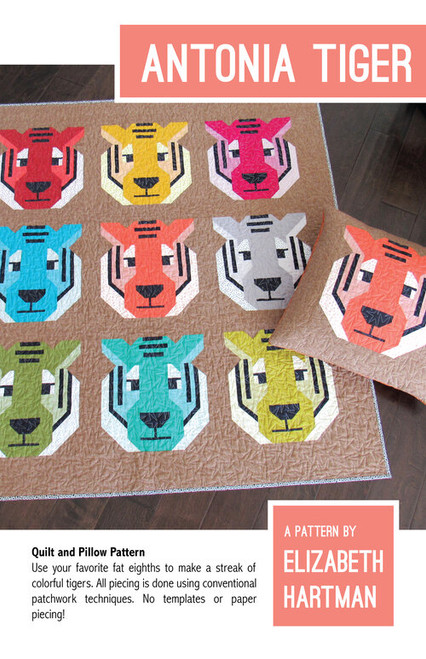 PRESALE Antonia Tiger Quilt Kit - Elizabeth Hartman, available from Purple Stitches, Hampshire UK
