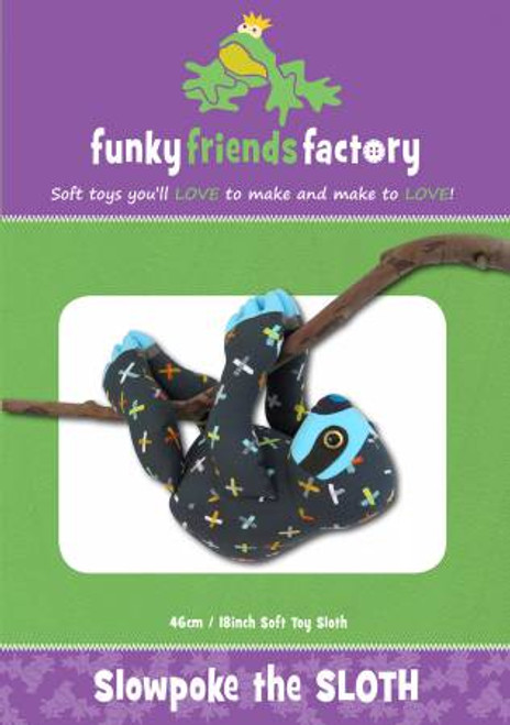 Funky Friends Slowpoke the Sloth Soft toy paper pattern, available from Purple Stitches, Hampshire UK
