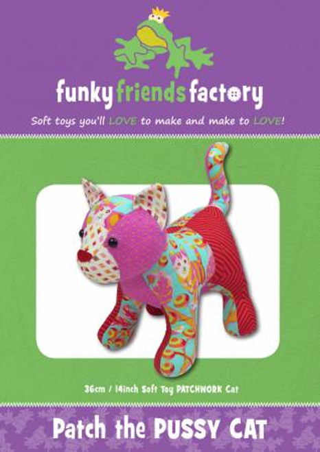 Funky Friends Patch the Pussy Cat Soft toy paper pattern, available from Purple Stitches, Hampshire UK