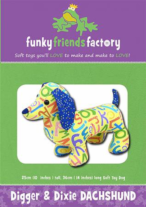 Funky Friends Digger and Dixie Dachshund Soft toy paper pattern, available from Purple Stitches, Hampshire UK