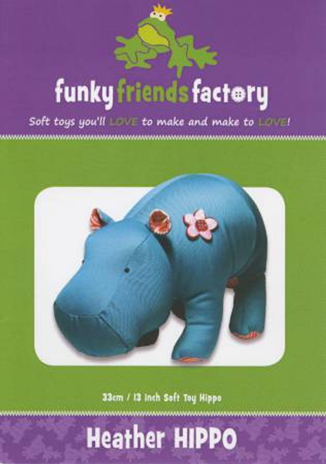 Funky Friends Heather Hippo Soft toy paper pattern, available from Purple Stitches, Hampshire UK