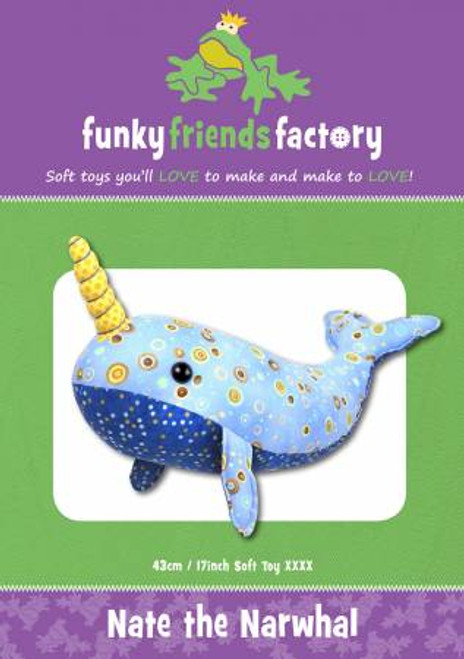 Funky Friends Nate the Narwhal Soft toy paper pattern, available from Purple Stitches, Hampshire UK