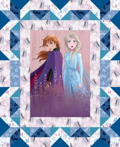 Disney Frozen 2 fabric Panel, Elsa and Anna Faux Quilt - Multicolour - Springs Creative Products, available from Purple Stitches, Hampshire, UK