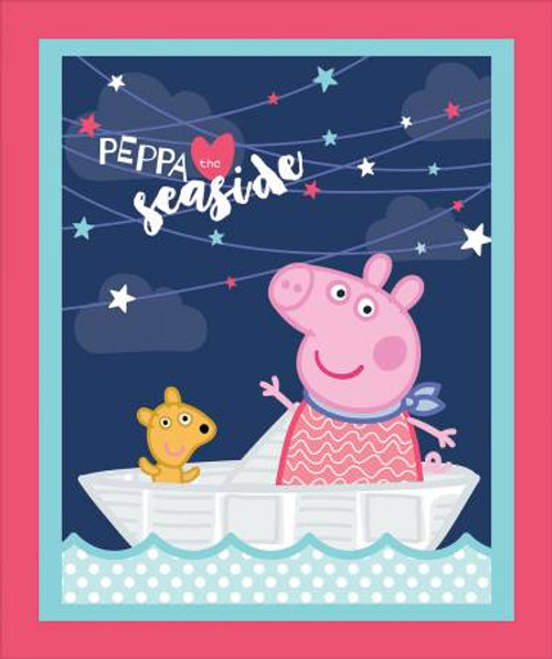 Peppa Pig Seaside fabric Panel,Springs Creative Products, available from Purple Stitches, Hampshire, UK