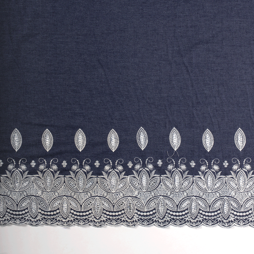 Embroidered Denim, dressmaking fabric, Available from Purple Stitches, Hampshire UK