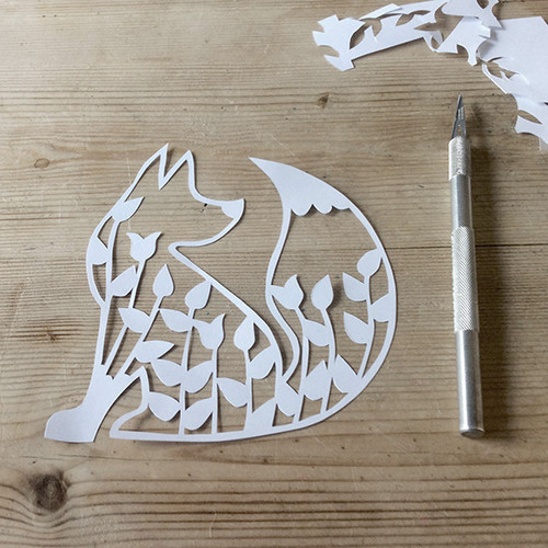 Papercut card workshop, Basingstoke, Hampshire UK, Purple Stitches