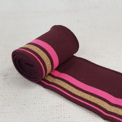 Bordeaux with Pink and Gold Stripes - Cotton Jersey Cuffs