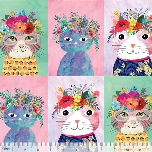 Floral Kitty Panel - Floral Pets - Mia Charro - Blend
