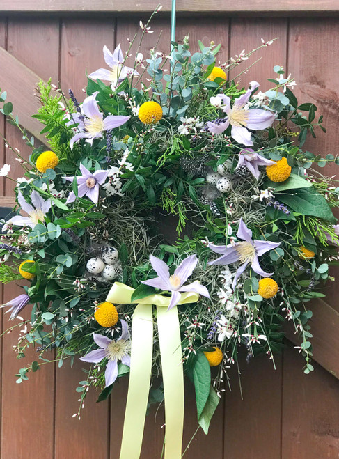 Fresh Spring Wreath Workshop with Bramble Cottage Flowers at Purple Stitches, North Hampshire, UK